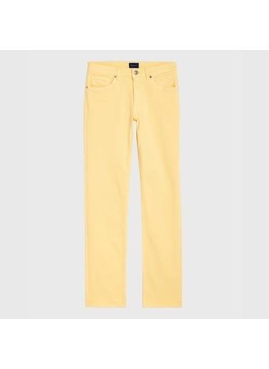Gant Kadın Sarı Slim Fit Twill Denim Pantolon Sarı